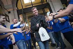 The new iPad Air on sale in London. <br /> Jim, first costumer in leaving the store with the iPad (not the the first who got in) gets cheered by Apple employees at Covent Garden's Apple store, London, United Kingdom. Friday, 1st November 2013. Picture by Daniel Leal-Olivas / i-Images