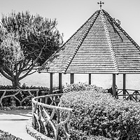Laguna Beach California gazebo black and white panorama picture. Laguna Beach is a beach community along the Pacific Ocean in Orange County Southern California.