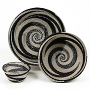 Group Bowl; Black and silver spiral