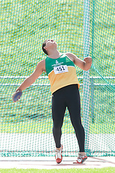 (Sherbrooke, Quebec---10 August 2008) Nolan Machiskinic competing in the youth boys discus at the 2008 Canadian National Youth and Royal Canadian Legion Track and Field Championships in Sherbrooke, Quebec. The photograph is copyright Sean Burges/Mundo Sport Images, 2008. More information can be found at www.msievents.com.