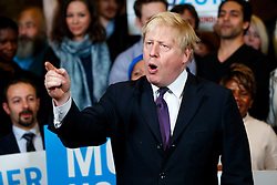 © Licensed to London News Pictures. 07/04/2016. London, UK. Current Mayor of London BORIS JOHNSON speaking to support Conservative's Mayor of London candidate Zac Goldsmith during a mayoral rally at Christ Church in Wanstead, east London on Thursday, 7 April 2016. Photo credit: Tolga Akmen/LNP