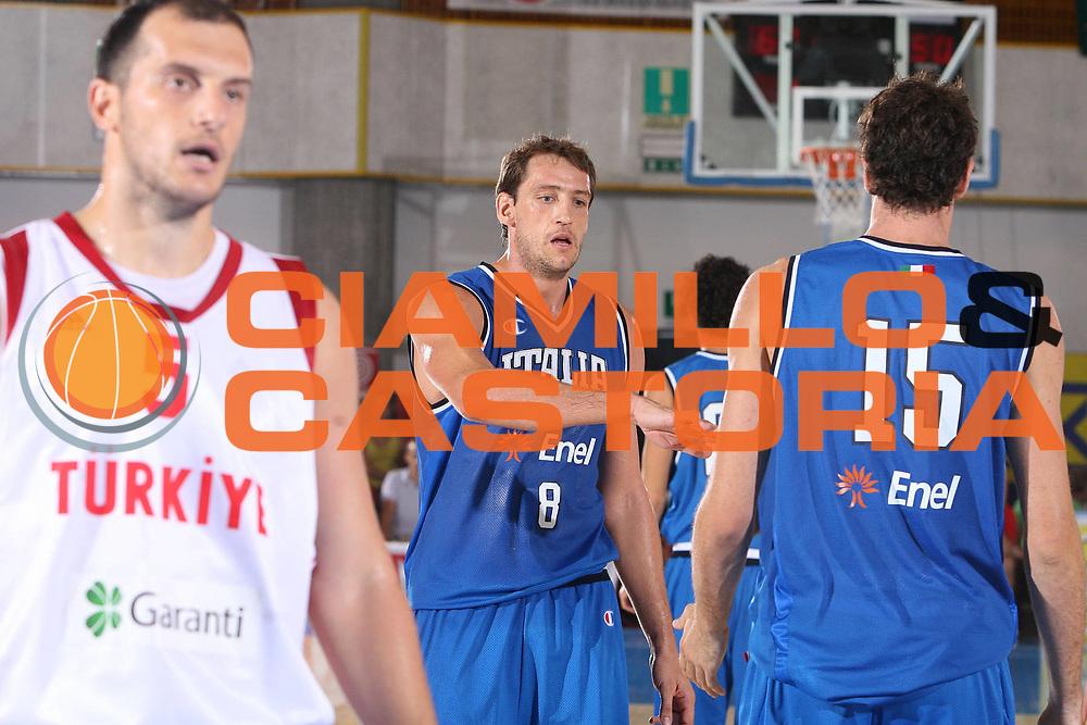 DESCRIZIONE : Bormio Ritiro Nazionale Italiana Maschile Preparazione Eurobasket 2007 Amicehvole Italia Turchia <br /> GIOCATORE : Denis Marconato <br /> SQUADRA : Nazionale Italia Uomini <br /> EVENTO : Bormio Ritiro Nazionale Italiana Uomini Preparazione Eurobasket 2007 <br /> GARA : Italia Turchia <br /> DATA : 29/07/2007 <br /> CATEGORIA : Esultanza <br /> SPORT : Pallacanestro <br /> AUTORE : Agenzia Ciamillo-Castoria/S.Silvestri <br /> Galleria : Fip Nazionali 2007 <br /> Fotonotizia : Bormio Ritiro Nazionale Italiana Maschile Preparazione Eurobasket 2007 Amichevole Italia Turchia <br /> Predefinita :