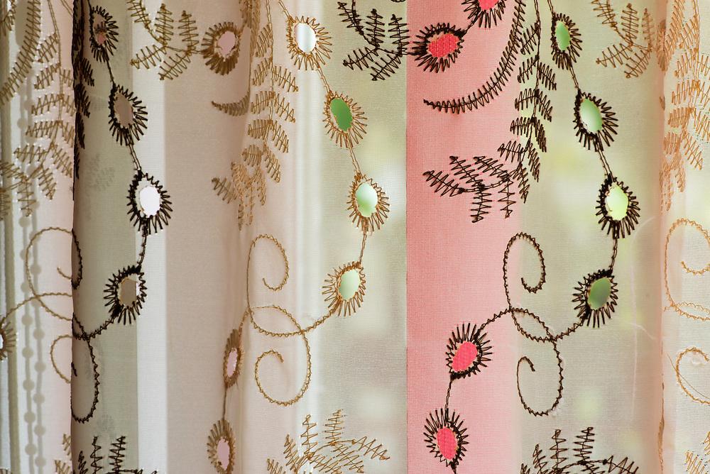 Romanian handmade curtain, Crisan, Danube Delta, Romania.