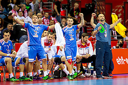 31.01.2016, Tauron Arena, Krakau, POL, EHF Euro 2016, Norwegen vs Kroatien, Spiel um Platz 3, im Bild Luka Cindric (Nr. 33, HC Vardar) und Ivan Cupic (Nr. 27, HC Vive Tauron Kielce) freuen sich. // during the 2016 EHF Euro 3rd place match between Norway and Croatia at the Tauron Arena in Krakau, Poland on 2016/01/31. EXPA Pictures &copy; 2016, PhotoCredit: EXPA/ Eibner-Pressefoto/ Koenig<br /> <br /> *****ATTENTION - OUT of GER*****