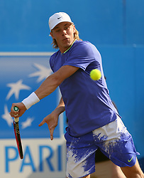 Canada's Denis Shapovalov during his match against Czech Republic's Tomas Berdych during day three of the 2017 AEGON Championships at The Queen's Club, London. PRESS ASSOCIATION Photo. Picture date: Wednesday June 21, 2017. See PA story TENNIS Queens. Photo credit should read: Steven Paston/PA Wire. RESTRICTIONS: Editorial use only, no commercial use without prior permission.