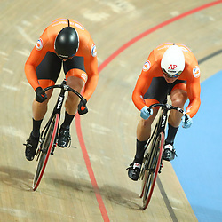 03-03-2019: WK wielrennen: Baan: Pruszkow<br />- Cycling - UCI Track Cycling World Championships presented by Tissot - Velodrome BGZ Arena, Pruszkow, Poland - Men's Sprint gold finals Jeffery Hoogland and Harrie Lavreysen of The Netherlands