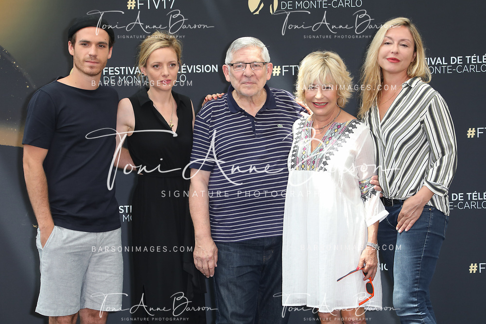 """MONTE-CARLO, MONACO - JUNE 17:  (L-R) Axel Huet, Charlie Bruneau, Yves Pignot, Marie Vincent and Jeanne Savary attend photocall for """"En Famille"""" on June 17, 2017 at the Grimaldi Forum in Monte-Carlo, Monaco.  (Photo by Tony Barson/FilmMagic)"""