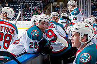 KELOWNA, CANADA - MARCH 14: Liam Kindree #26 of the Kelowna Rockets leans on the boards during a time out against the Prince George Cougars  on March 14, 2018 at Prospera Place in Kelowna, British Columbia, Canada.  (Photo by Marissa Baecker/Shoot the Breeze)  *** Local Caption ***