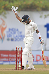 July 29, 2017 - Galle, Sri Lanka - Indian cricket captain Virat Kohli gestures after playing a shot during the 4th Day's play in the 1st Test match between Sri Lanka and India at the Galle cricket stadium, Galle, Sri Lanka on Saturday 29 July 2017. (Credit Image: © Tharaka Basnayaka/NurPhoto via ZUMA Press)