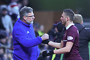 Craig Levein subs off David Milinkovic during the William Hill Scottish Cup 4th round match between Heart of Midlothian and Hibernian at Tynecastle Stadium, Gorgie, Scotland on 21 January 2018. Photo by Kevin Murray.