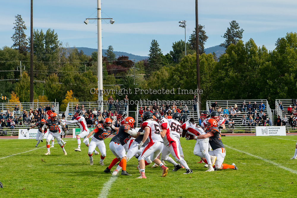 KELOWNA, BC - OCTOBER 6:  The Okanagan Sun take on the VI Raiders at the Apple Bowl on October 6, 2019 in Kelowna, Canada. (Photo by Marissa Baecker/Shoot the Breeze)