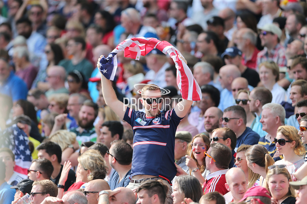 Fan with American flag during the Rugby World Cup 2015 match between Samoa and USA at the Brighton Community Stadium, Falmer, United Kingdom on 20 September 2015.