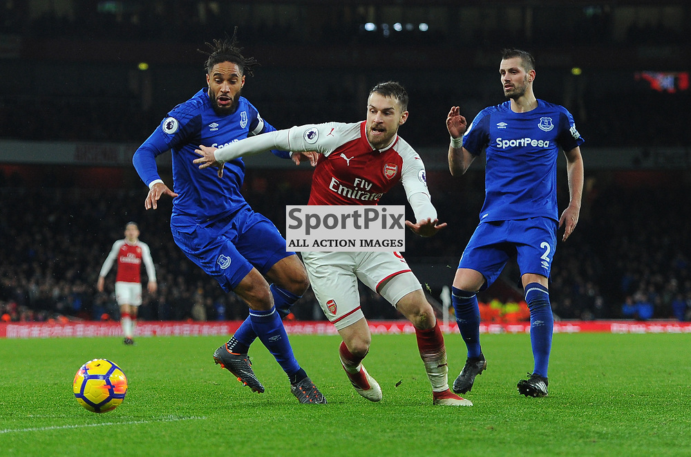 Aaron Ramsey of Arsenal breaks through an Everton defence of Ashley Williams and Morgan Schneiderlin during Arsenal vs Everton, Premier League, 03.02.18 (c) Harriet Lander | SportPix.org.uk