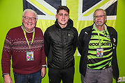 Forest Green Rovers Matty Stevens(9) with his kit sponsor during the EFL Sky Bet League 2 match between Forest Green Rovers and Carlisle United at the New Lawn, Forest Green, United Kingdom on 28 January 2020.