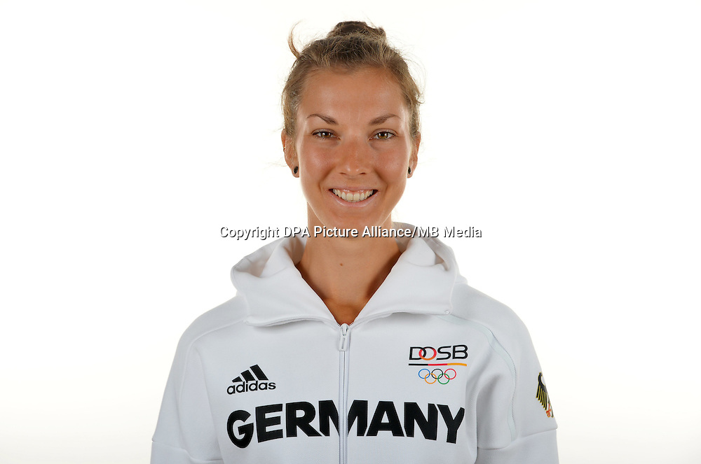 Kathrin Marchand poses at a photocall during the preparations for the Olympic Games in Rio at the Emmich Cambrai Barracks in Hanover, Germany. July 08, 2016. Photo credit: Frank May/ picture alliance. | usage worldwide