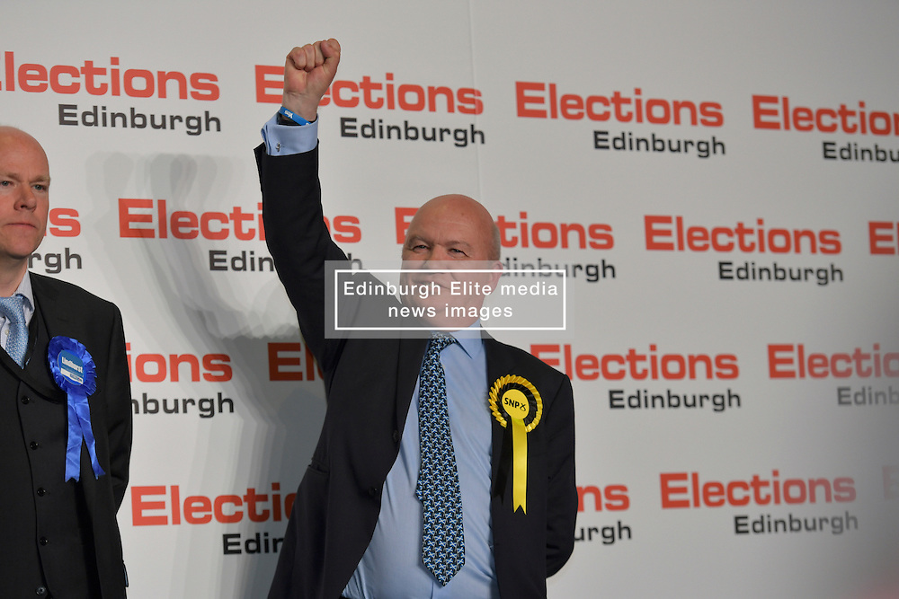 SCOTTISH PARLIAMENTARY ELECTION 2016 –Gordon MacDonald, Scottish National Party (SNP)winning the Peatlands area vote at the Scottish Parliament Elections, at the Royal Highland Centre, Edinburgh for the counting of votes and declaration of results.<br />