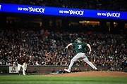 Oakland Athletics relief pitcher Liam Hendriks (31) pitches to the San Francisco Giants at AT&T Park in San Francisco, California, on March 30, 2017. (Stan Olszewski/Special to S.F. Examiner)