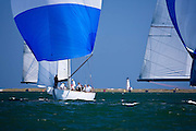 Nefertiti and American Eagle sailing in the Nantucket 12 Meter Regatta.