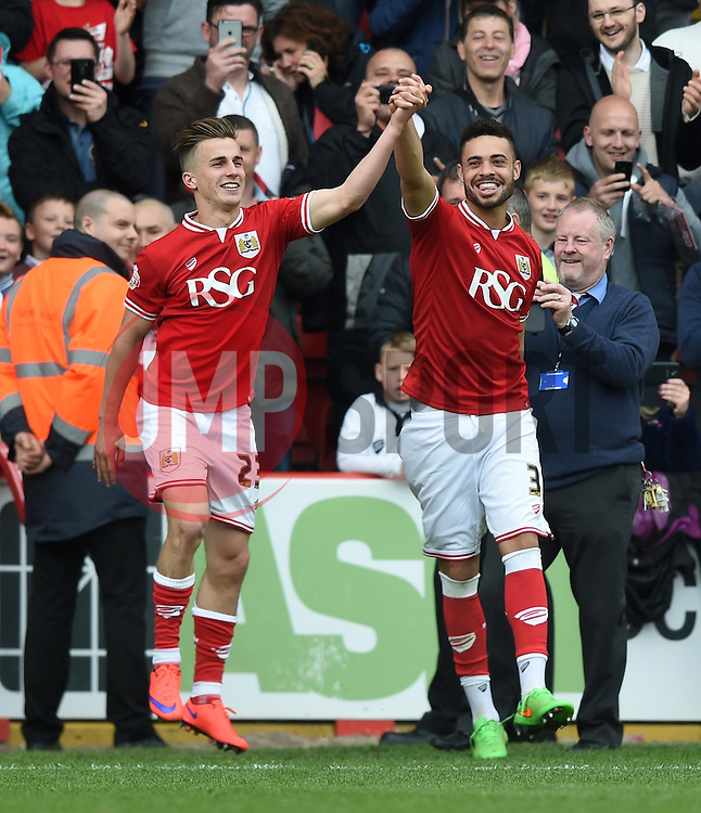 Bristol City's Joe Bryan and Derrick Williams - Photo mandatory by-line: Paul Knight/JMP - Mobile: 07966 386802 - 03/05/2015 - SPORT - Football - Bristol - Ashton Gate Stadium - Bristol City v Walsall - Sky Bet League One