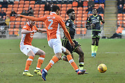 Bristol Rovers Forward, Ellis Harrison (9) and Blackpool Defender, Kelvin Mellor (2)  during the EFL Sky Bet League 1 match between Blackpool and Bristol Rovers at Bloomfield Road, Blackpool, England on 13 January 2018. Photo by Mark Pollitt.