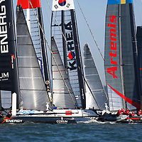 Fleet Race practice session at the America Cup Series San Francisco. Mandatory Credit: Dinno Kovic