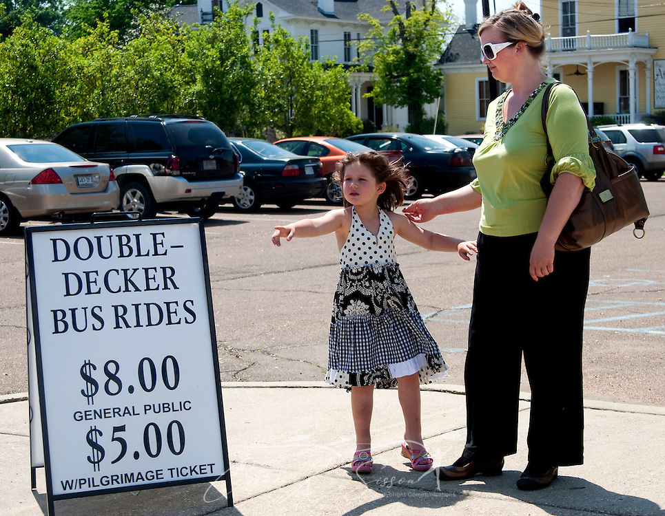 Katie Rose Miller, 5, points to a double-decker tour bus as she waits for a ride with her mother, Jennifer Miller, at the Tennessee Williams Welcome Center in Columbus, Miss. April 17, 2010. Rides are $8 and include stops at many of the historic, antebellum homes throughout the city. (Photo by Carmen K. Sisson/Cloudybright)