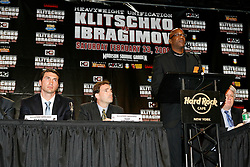 December 4, 2007; New York, NY, USA;  1976/1984 Olympic gold medalist Edwin Moses, President of Laureus Sports for Good Foundation, speaks at the press conference announcing the February 23, 2008 unification fight between IBF/IBO Heavyweight Champion Wladimir Klitschko (l) and WBO Heavyweight Champion Sultan Ibragimov.  The two fighters will meet at Madison Square Garden.