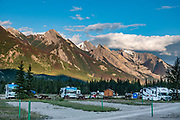 Snaring River Overflow Campground, Jasper National Park, Canadian Rockies, Alberta, Canada. Jasper is the largest national park in the Canadian Rocky Mountain Parks World Heritage Site honored by UNESCO in 1984.
