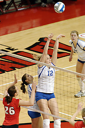24 November 2006:  Kelly Goc set the ball close to the net during a Quarterfinal match between the Illinois State University Redbirds and the Creighton University Bluejays. The Tournament was held at Redbird Arena on the campus of Illinois State University in Normal Illinois.<br />