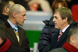 LIVERPOOL, ENGLAND - Sunday, December 13, 2009: Liverpool's Kenny Dalglish with his son Paul during the Premiership match at Anfield. (Photo by: David Rawcliffe/Propaganda)