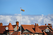 The Royal Standard flies above the Royal Liverpool Golf Club to signify the attendance of the Duke of York during the Sunday Singles in the Walker Cup at the Royal Liverpool Golf Club, Sunday, Sept 8, 2019, in Hoylake, United Kingdom. (Steve Flynn/Image of Sport)