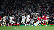 Twickenham, Great Britain,     Jonny MAY, touches down, during the Pool A Game, England vs Wales.  2015 Rugby World Cup, Venue, The RFU Stadium, Twickenham, Surrey, ENGLAND. Saturday   26/09/2015  [Mandatory Credit; Peter Spurrier/Intersport-images]