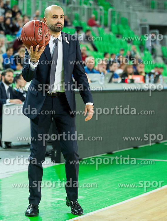 Maurizio Buscaglia, head coach of Trento during basketball match between KK Union Olimpija Ljubljana and Dolomiti Energia Trento (ITA) in Round #1 of EuroCup 2015/16, on October 14, 2015 in Arena Stozice, Ljubljana, Slovenia. Photo by Vid Ponikvar / Sportida