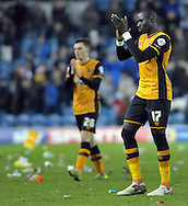 Mohamed Diame & Andrew Robertson of Hull City thank the traveling supporters after the Sky Bet Championship match at Elland Road, Leeds<br /> Picture by Graham Crowther/Focus Images Ltd +44 7763 140036<br /> 05/12/2015