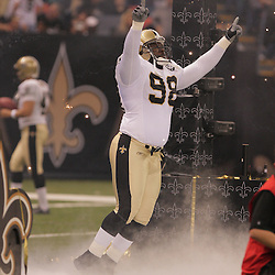 2008 September 7: Sedrick Ellis (98) of the New Orleans Saints during pregame introduction prior to the Saints home opener against the Tampa Bay Buccaneers at the Louisiana Superdome in New Orleans, LA.