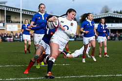 Jess Breach of England Women scores a try - Mandatory by-line: Robbie Stephenson/JMP - 10/02/2019 - RUGBY - Castle Park - Doncaster, England - England Women v France Women - Women's Six Nations
