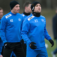 St Johnstone Training....31.01.14<br /> Lee Croft lines up for a sprint race in training this morning ahead of tomorrow's League Cup Final against Aberdeen.<br /> Picture by Graeme Hart.<br /> Copyright Perthshire Picture Agency<br /> Tel: 01738 623350  Mobile: 07990 594431