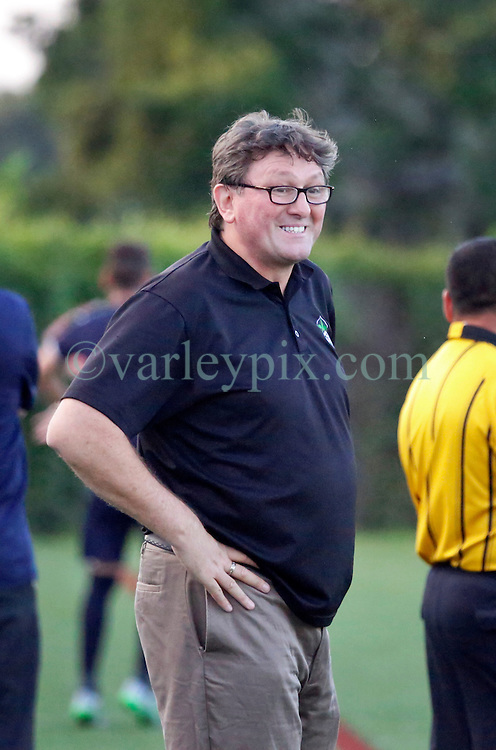 22 June 2016. New Orleans, Louisiana.<br /> NPSL Soccer, Pan American Stadium.<br /> New Orleans Jesters v Nashville FC. Jesters head coach Kenny Farrell on the sidelines. Jesters emerge victorious with a 2-0 win.<br /> Photo; Charlie Varley/varleypix.com
