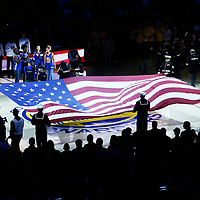 12 June 2017: General view of the Oracle Arena during the players introduction prior to the Golden State Warriors 129-120 victory over the Cleveland Cavaliers, in game 5 of the 2017 NBA Finals, at the Oracle Arena, Oakland, California, USA.