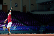 Tomasz Bednarek of Poland while trening session four days before the BNP Paribas Davis Cup 2013 between Poland and Australia at Torwar Hall in Warsaw on September 09, 2013.<br /> <br /> Poland, Warsaw, September 09, 2013<br /> <br /> Picture also available in RAW (NEF) or TIFF format on special request.<br /> <br /> For editorial use only. Any commercial or promotional use requires permission.<br /> <br /> Photo by © Adam Nurkiewicz / Mediasport