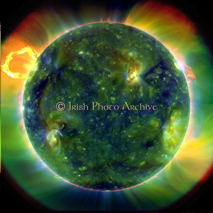The Extreme Ultraviolet Sun shown in false-colour, the composite view covers extreme ultraviolet wavelengths and traces hot plasma at temperatures approaching 1 million kelvins. At full resolution, SDO image data is intended to explore solar activity in unprecedented detail.