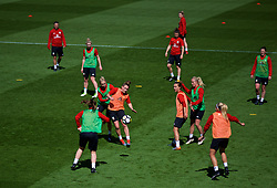 SOUTHAMPTON, ENGLAND - Thursday, April 5, 2018: Wales' Jessica Fishlock and Rachel Rowe during a training session at St. Mary's Stadium ahead of the FIFA Women's World Cup 2019 Qualifying Round Group 1 match against England. (Pic by David Rawcliffe/Propaganda)