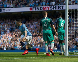 Phil Foden of Manchester City (L) celebrates scoring his sides first goal - Mandatory by-line: Jack Phillips/JMP - 20/04/2019 - FOOTBALL - Etihad Stadium - Manchester, England - Manchester City v Tottenham Hotspur - English Premier League