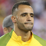FOXBOROUGH, MASSACHUSETTS - JUNE 12:   Renato Augusto #18 of Brazil during team presentations before the Brazil Vs Peru Group B match of the Copa America Centenario USA 2016 Tournament at Gillette Stadium on June 12, 2016 in Foxborough, Massachusetts. (Photo by Tim Clayton/Corbis via Getty Images)