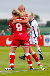 Claire Emslie of Bristol City Women celebrates with Millie Farrow after scoring a goal to make it 2-1 - Mandatory byline: Rogan Thomson/JMP - 09/07/2016 - FOOTBALL - Stoke Gifford Stadium - Bristol, England - Bristol City Women v Milwall Lionesses - FA Women's Super League 2.