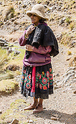 Campesino woman dressed in embroidered skirt. Day 4 of 10: Trek 10 days around Alpamayo, in Huascaran National Park (UNESCO World Heritage Site), Cordillera Blanca, Andes Mountains, Peru, South America.