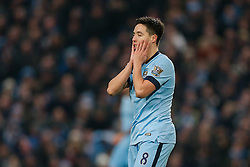Samir Nasri of Manchester City looks frustrated after missing with a good shot - Photo mandatory by-line: Rogan Thomson/JMP - 07966 386802 - 28/12/2014 - SPORT - FOOTBALL - Manchester, England - Etihad Stadium - Manchester City v Burnley - Barclays Premier League.