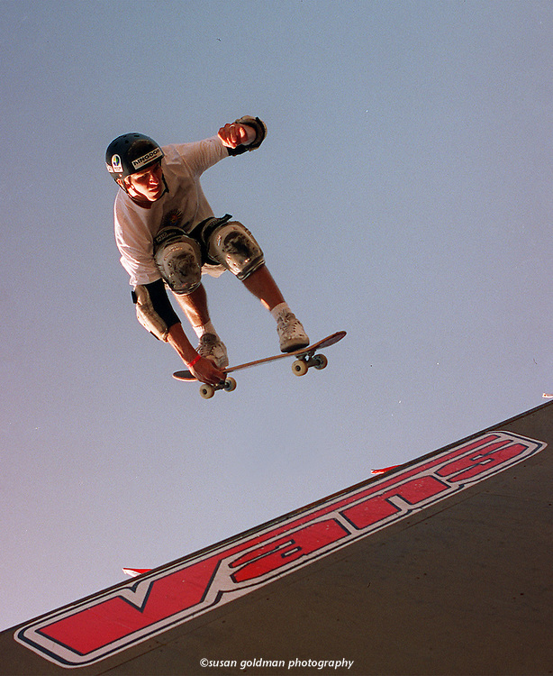 Tony Hawk lets loose on the vertical ramp during the finals of the Vans/Hard Rock Café World Championships of Skateboarding in Universal City, Calif. Hawk's soaring efforts earned him second place. Photo/Hard Rock Café, Susan Goldman.