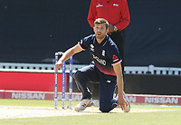 Cricket - 2017 ICC Champions Trophy - Group A: England vs. Bangladesh<br /> <br /> Mark Wood of England goes down on one knee after narrowly missing a wicket, at The Kia Oval.<br /> <br /> COLORSPORT/ANDREW COWIE