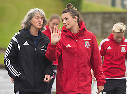 CARDIFF, WALES - Friday, August 19, 2016: Wales' Angela King chats with Nia Jones during a pre-match walk at the Vale Resort ahead of the international friendly match against Republic of Ireland. (Pic by Laura Malkin/Propaganda)